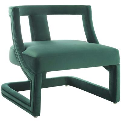 Requisite Green Accent Lounge Performance Velvet Armchair