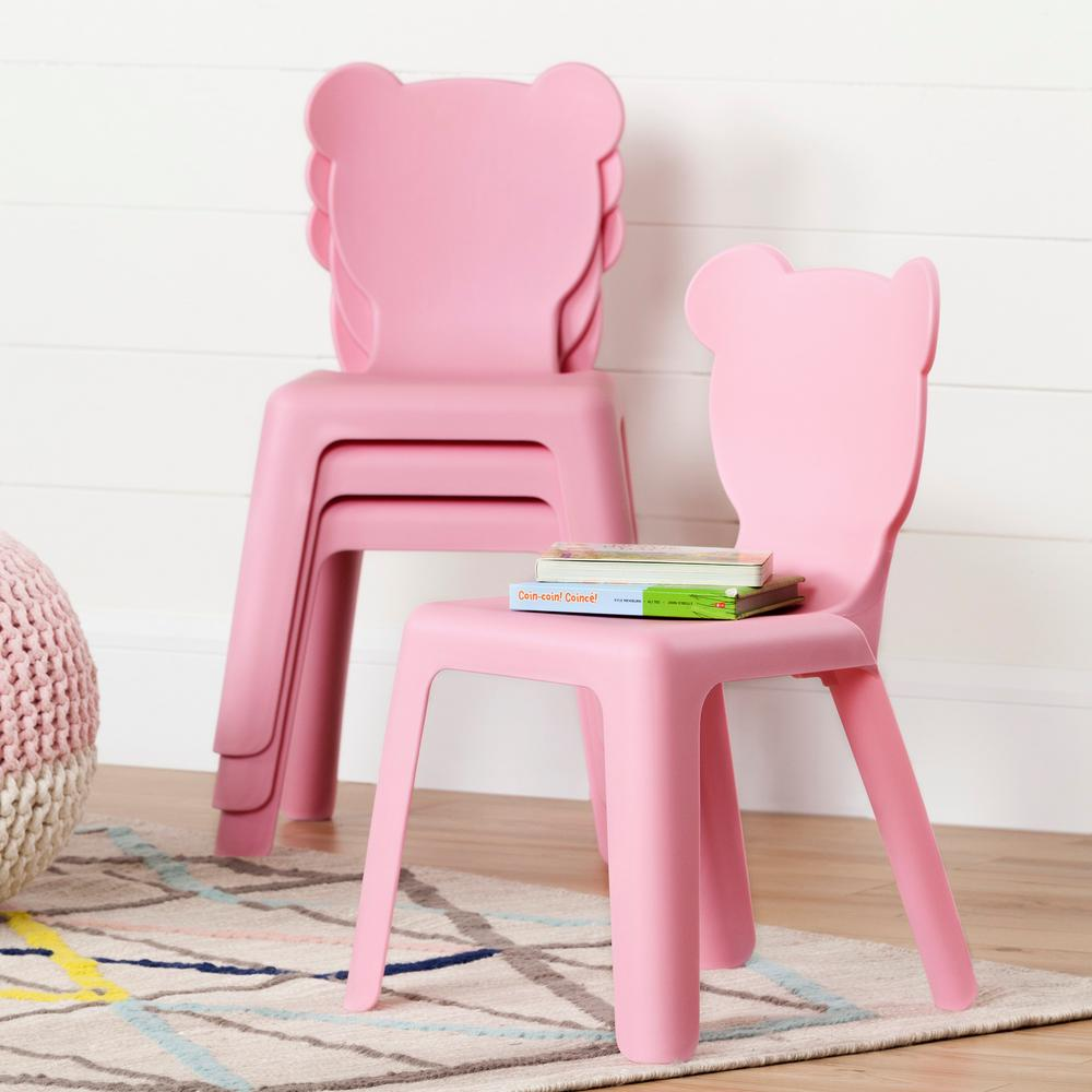 South Shore Crea Pink Plastic Stacking Kids Chair (Set of 4) : kids stackable plastic chairs - Cheerinfomania.Com