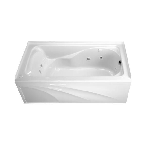 Cadet 60 in. x 32 in. Left Drain EverClean Whirlpool Tub with Integral Apron in White