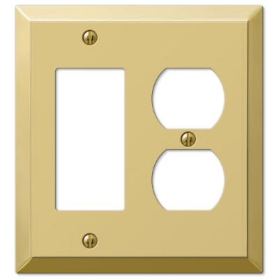 Metallic 2 Gang 1-Duplex and 1-Rocker Steel Wall Plate - Polished Brass