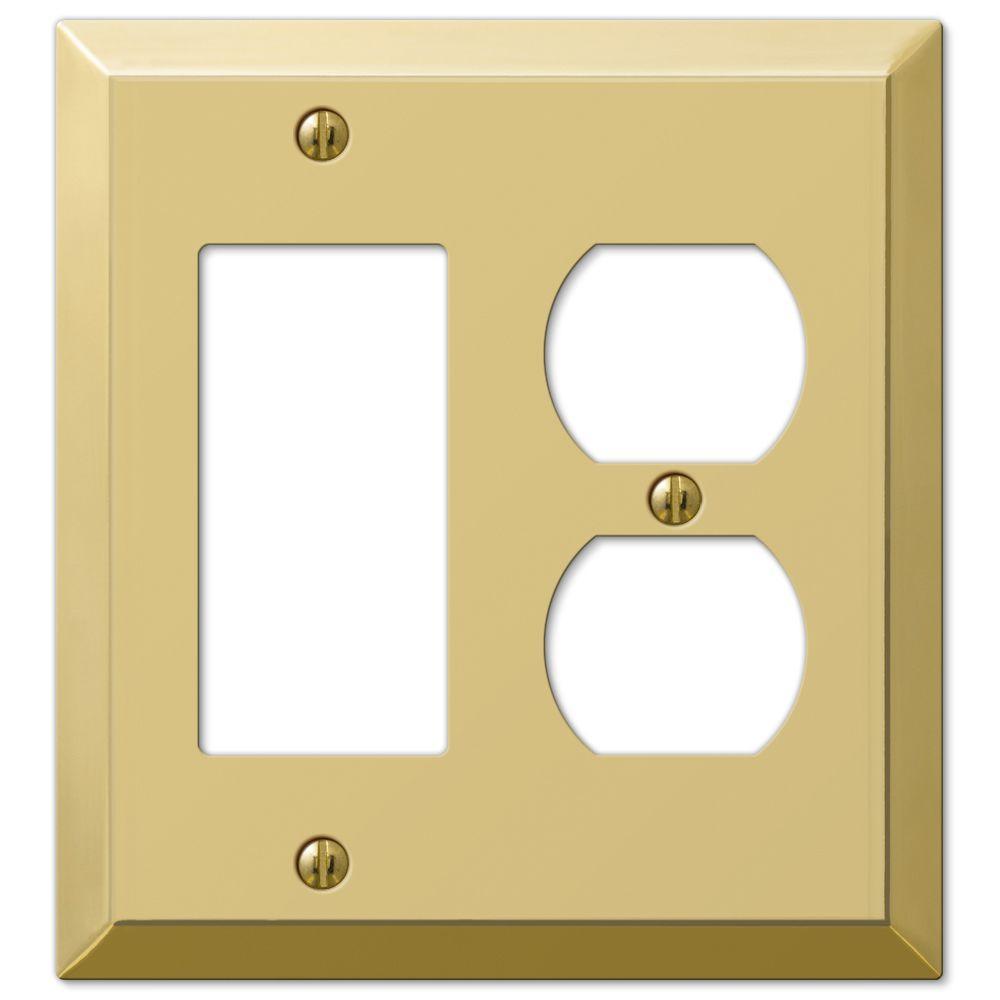 Metallic 2 Gang 1-Duplex and 1-Rocker Steel Wall Plate - Polished Brass
