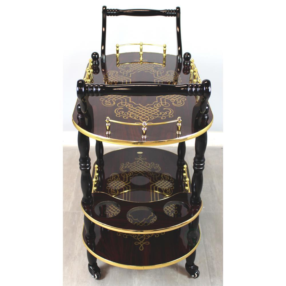 Uniquewise Gold Design Wood Serving Cart Trolley Bar Espresso Finish
