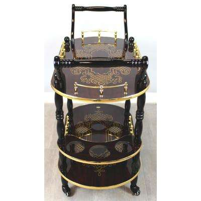 Gold Design Wood Serving Cart, Trolley bar cart, Espresso Finish