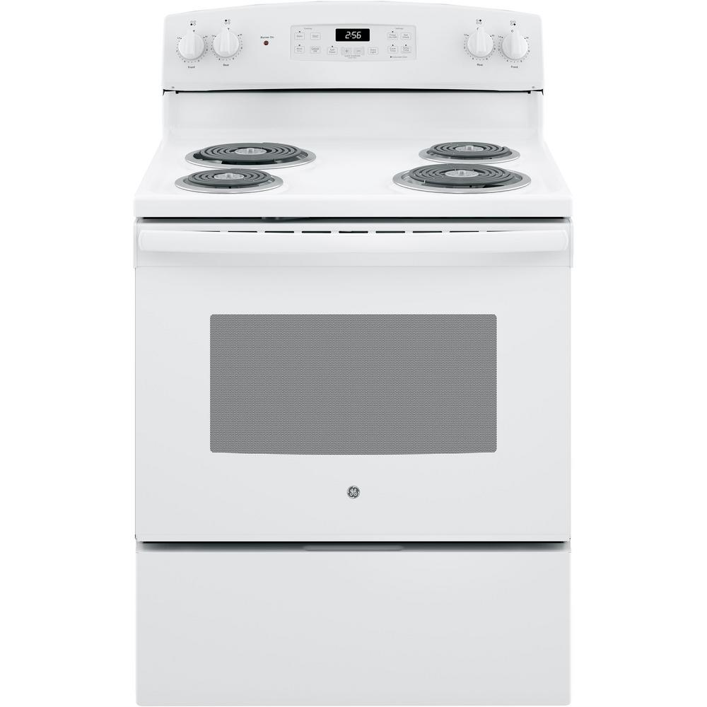 Ge 30 In 5 0 Cu Ft Electric Range With Self Cleaning Oven