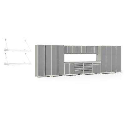 Pro Series 3.0 85.25 in. H x 256 in. W x 24 in. D 18-Gauge Steel Cabinet Set in Platinum (16-Piece)