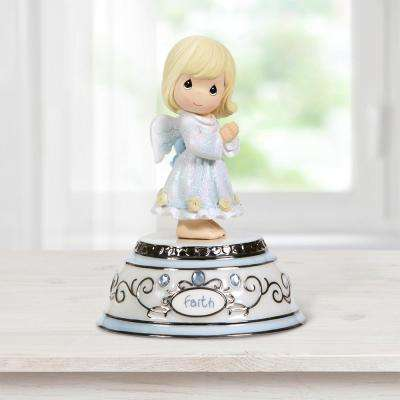 Tabletop Round Resin Faith Angel Music Box