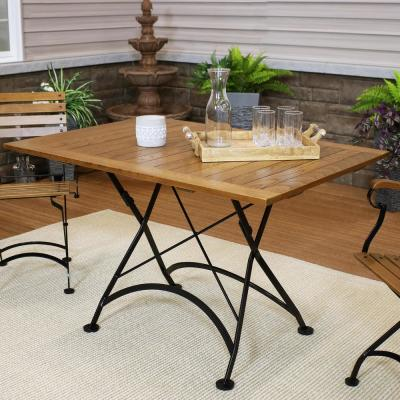 European 48 in. x 32 in. Folding Chestnut Wood Patio Dining Table