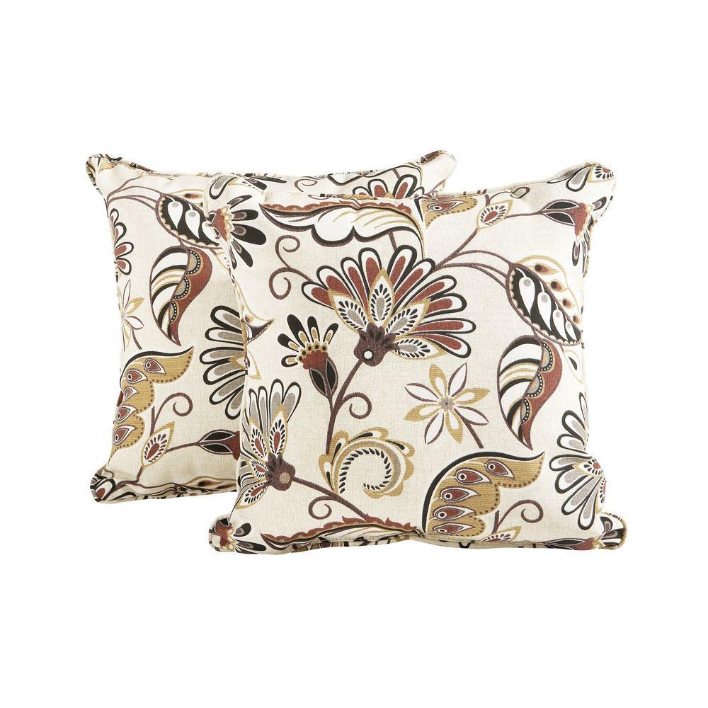 Hampton Bay Woodbury Outdoor Throw Pillow (2-Pack)