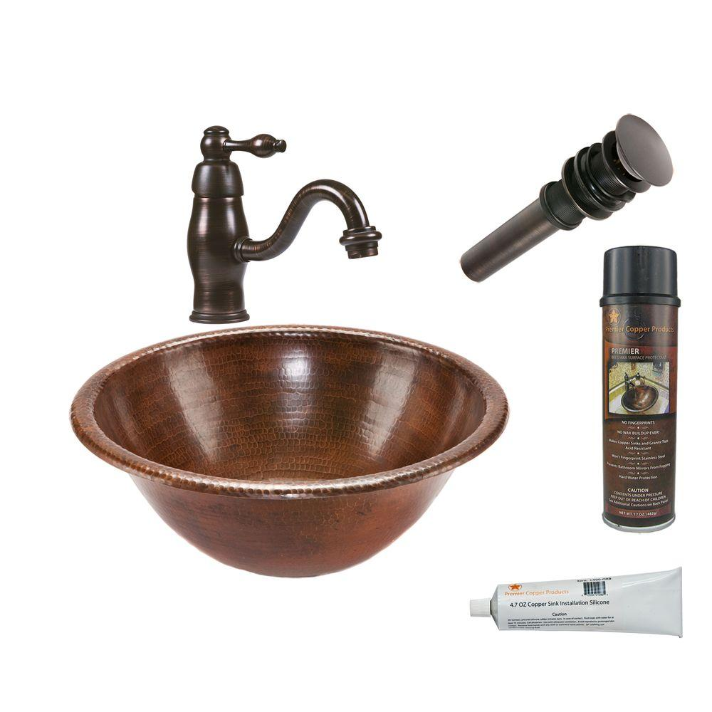 All-in-One Round Self Rimming Hammered Copper Bathroom Sink in Oil Rubbed