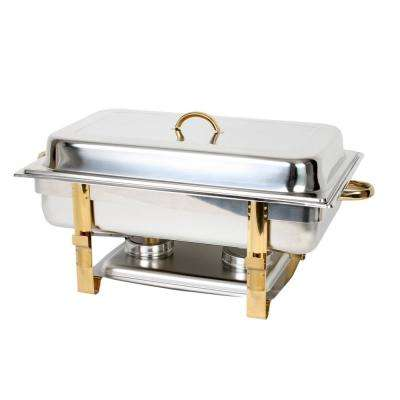 Stainless Steel 8 Qt. Gold Accented Oblong Chafer Comes in Set