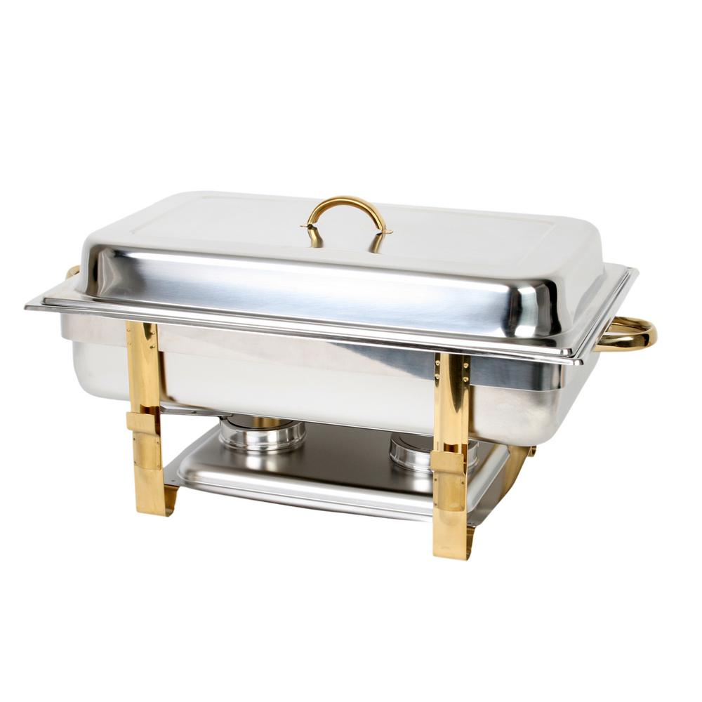 Stainless Steel 8 Qt Gold Accented Oblong Chafer Comes In Set