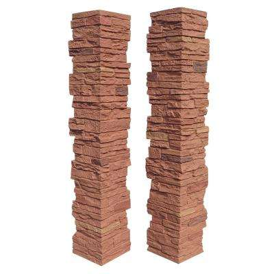 Slatestone Arizona Red 8 in. x 8 in. x 41 in. Faux Polyurethane Stone 2pc Post Cover