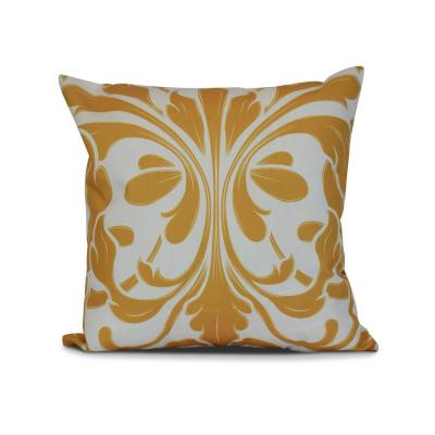 British Colonial Gold Geometric 17 in. x 17 in. Throw Pillow