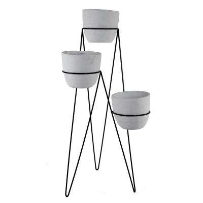 36 in. H 7 in. White Concrete 3-Tier Lava Cement Plant Pot Sets