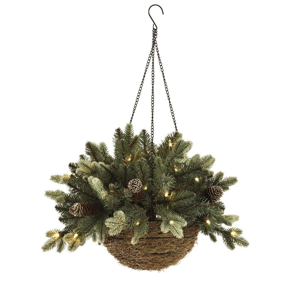 Home Decorators Collection 20 in. Pre-Lit Artificial Copenhagen Spruce Hanging Basket