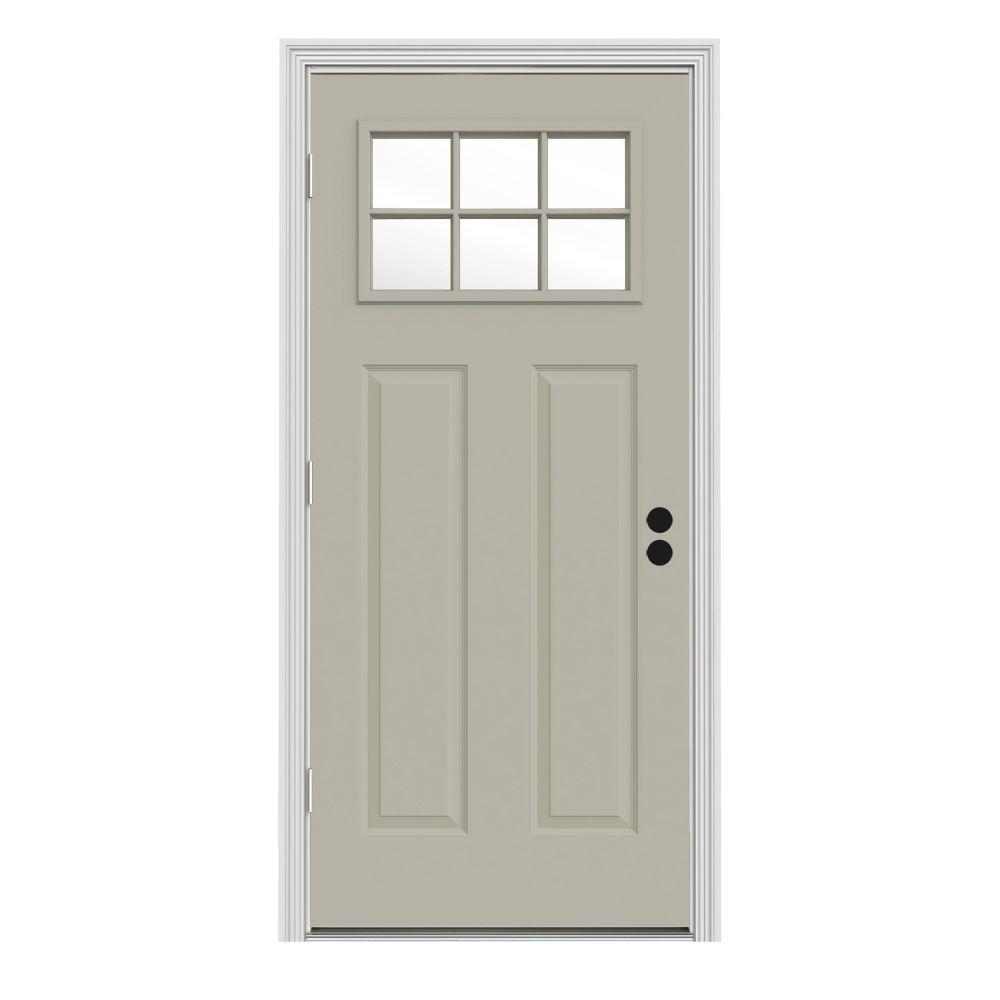 JELD-WEN 30 in. x 80 in. 6 Lite Craftsman Desert Sand Painted Steel Prehung Right-Hand Outswing Front Door w/Brickmould
