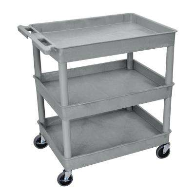 TC 32 in. Large Tub 3-Shelves Utility Cart in Gray