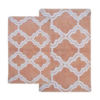 Double Quatrefoil Salmon/Ivory 2 ft. x 3 ft. 4 in. 2-Piece Bath Rug Set