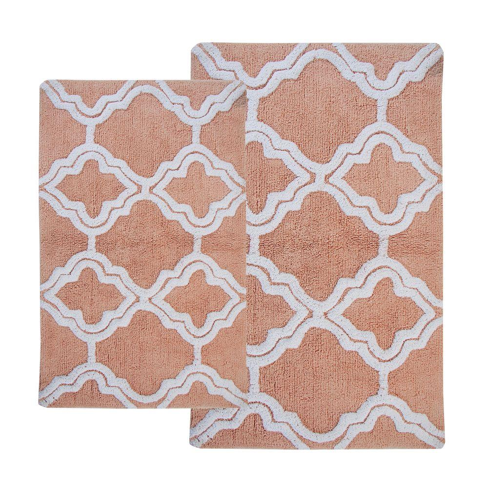 chesapeake merchandising double quatrefoil salmonivory 2 ft x 3 ft 4 in - 3 Piece Bathroom Rug Sets