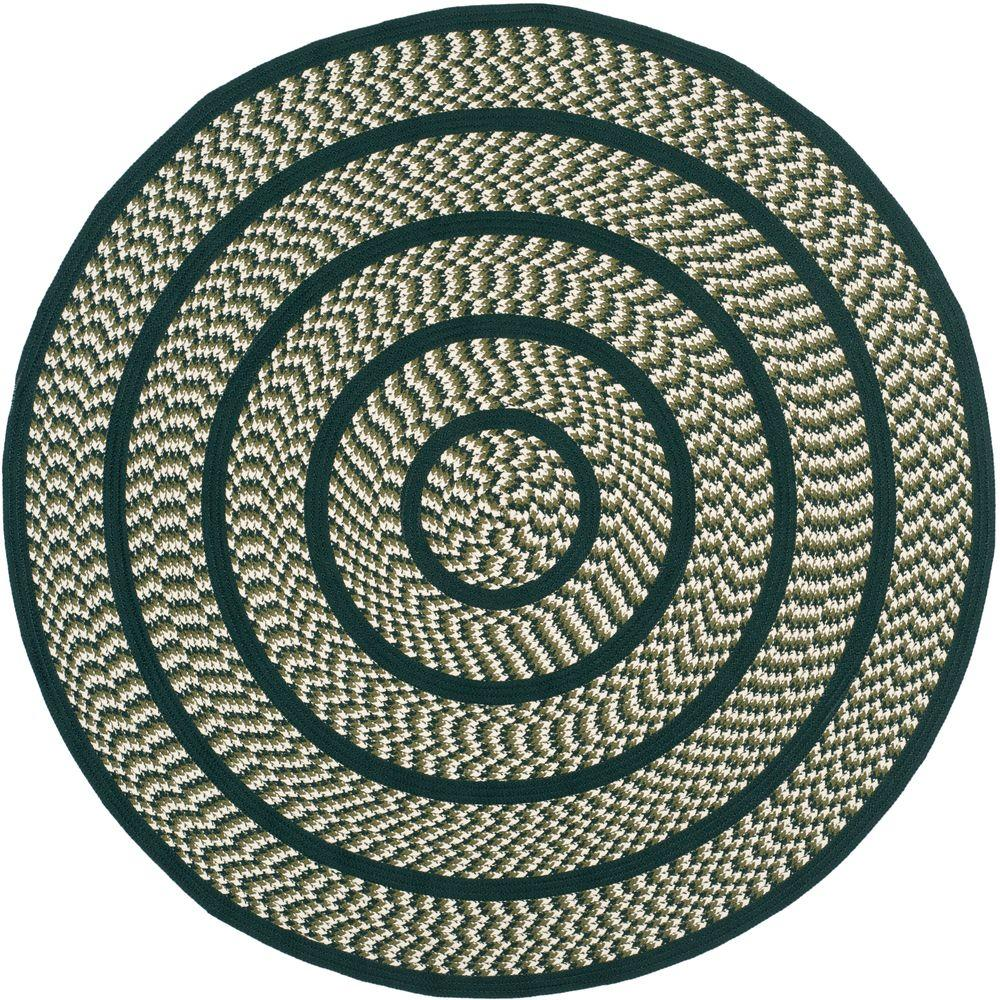 Braided Ivory/Dark Green 6 ft. x 6 ft. Round Area Rug
