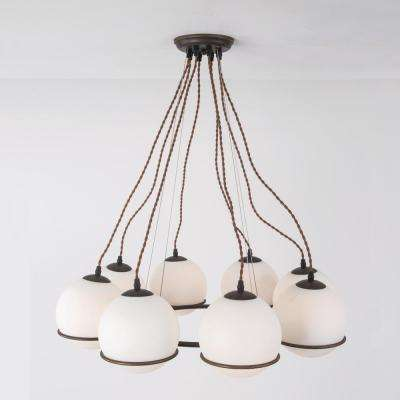Periwinkle Collection 8-Light Oil Rubbed Bronze Hanging Chandelier with White Orbed Glass Shade