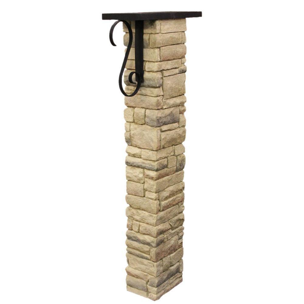 Beige Stacked Stone Mailbox Post Kit with Decorative Scroll