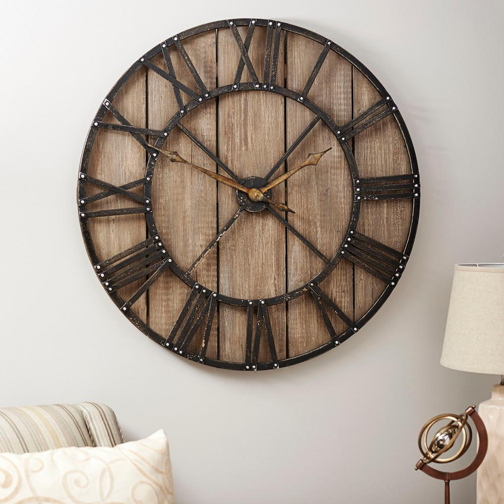 Household Essentials Round Roman Wall Clock 2376 1 The Home Depot