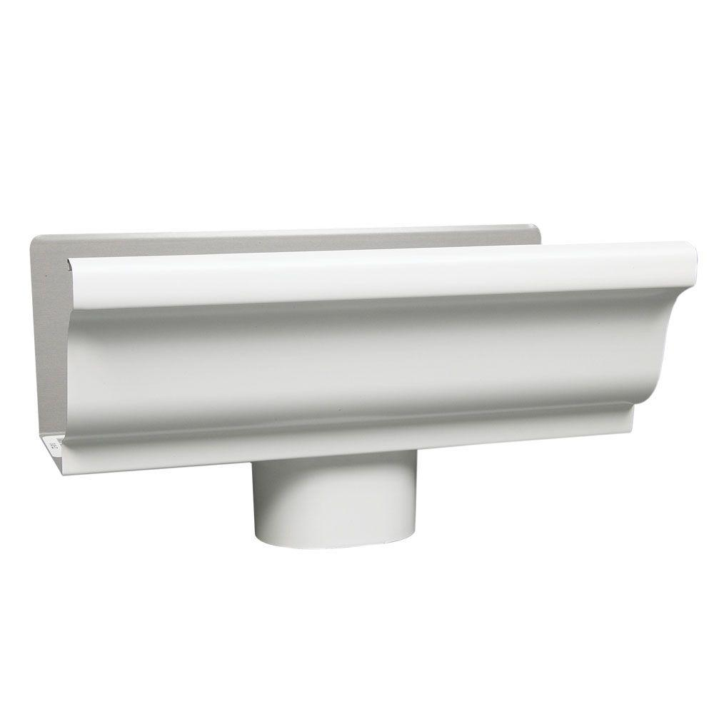 Amerimax Home Products 5 in. White Aluminum End with Drop