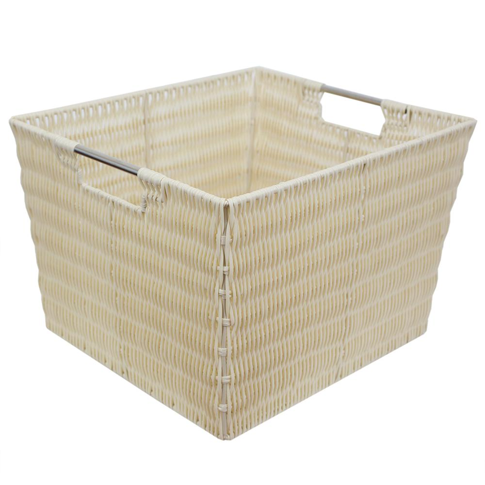 Home Basics 13 in. x 10 in. Ivory Intricate Decorative Weave Plastic Basket