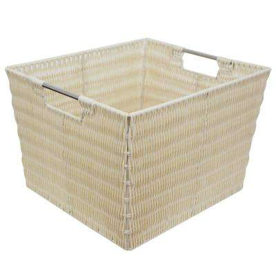 13 in. x 10 in. Ivory Intricate Decorative Weave Plastic Basket