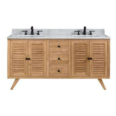 Harper 61 in. Vanity in Natural Teak with Carrera White Basin Marble Top