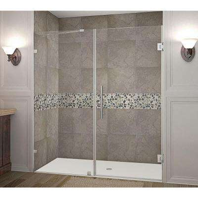 Nautis 72 in. x 72 in. Completely Frameless Hinged Shower Door in Stainless Steel