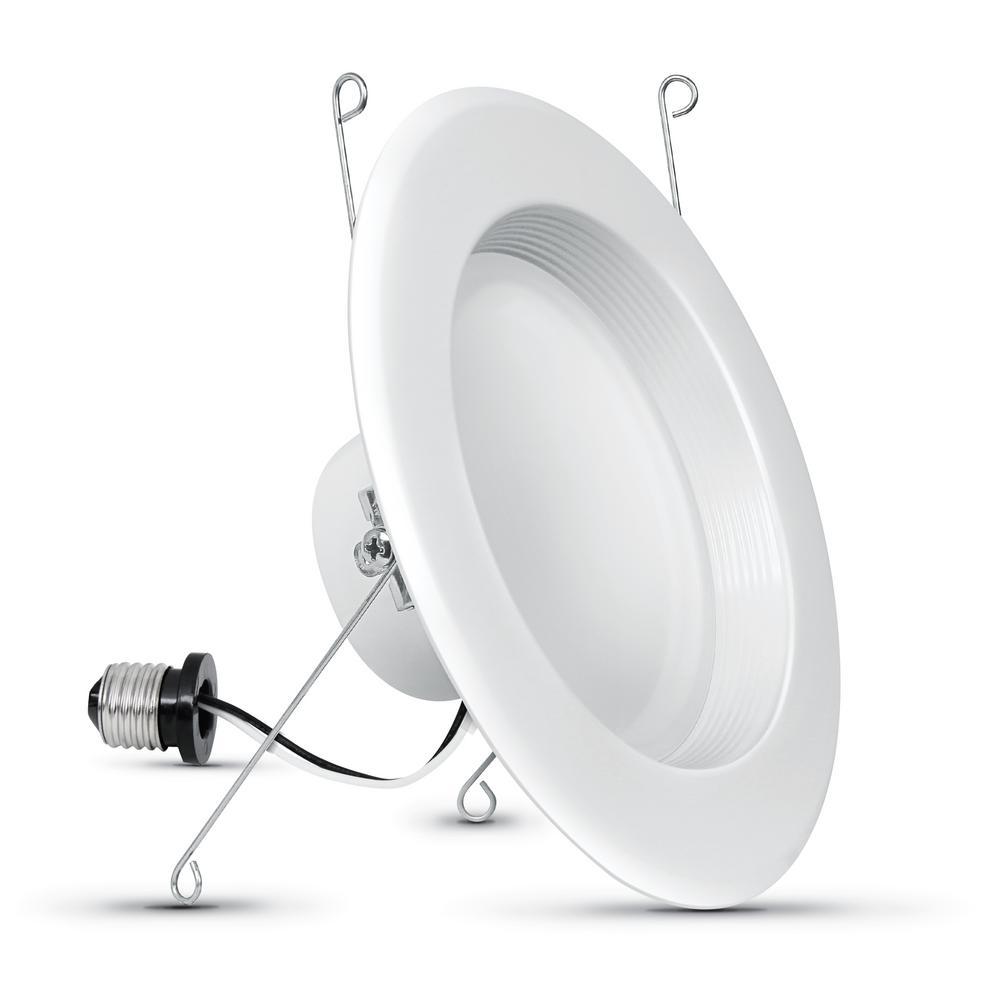 5 in.6 in. 75-Watt Equivalent 3000K Bright White Dim CEC Integrated LED Retrofit White Recessed Trim Downlight (36-Pack)