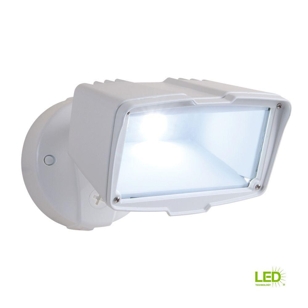 White Outdoor Integrated LED Large Single-Head Security Flood Light with 1900