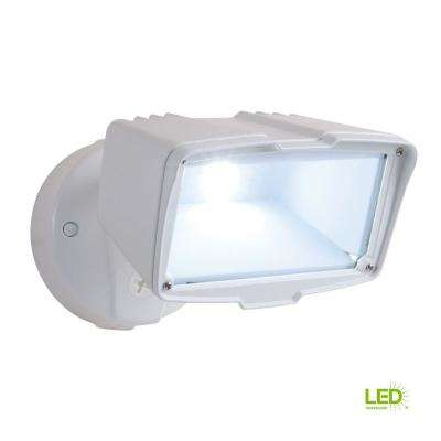 White Outdoor Integrated LED Large Single-Head Security Flood Light with 1900 Lumens and 5000K Daylight