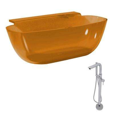 Vida 62 in. Man-Made Stone Classic Flatbottom Non-Whirlpool Bathtub in Honey Amber and Sens Faucet in Chrome