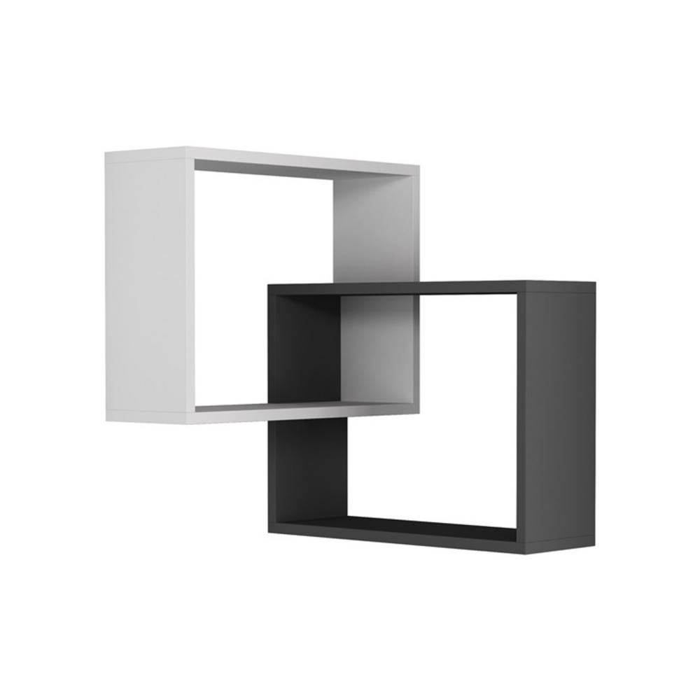 Ada Home Decor Warner White and Anthracite Mid-Century Modern Wall Shelf