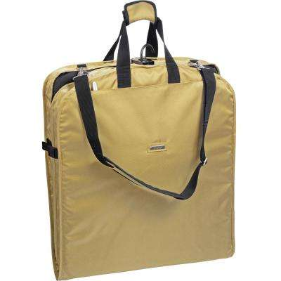 52 in. Khaki Dress Length Carry-On Garment Bag with 2-Pockets and Shoulder Strap