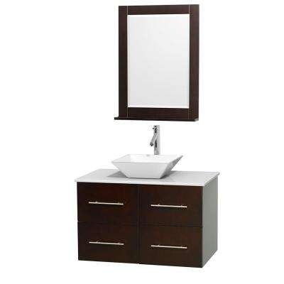 Centra 36 in. Vanity in Espresso with Solid-Surface Vanity Top in White, Porcelain Sink and 24 in. Mirror