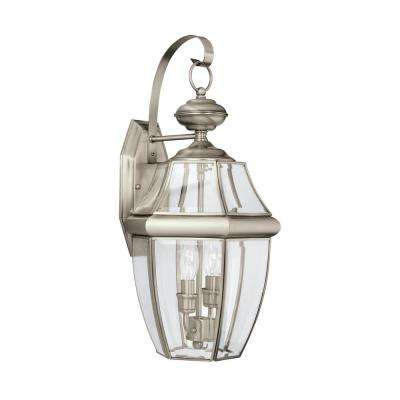 Lancaster 2-Light Antique Brushed Nickel Outdoor Wall Mount Lantern