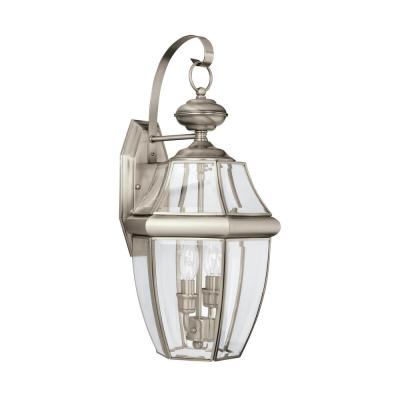 Lancaster 2-Light Antique Brushed Nickel Outdoor 20.5 in. Wall Lantern Sconce with Dimmable Candelabra LED Bulb