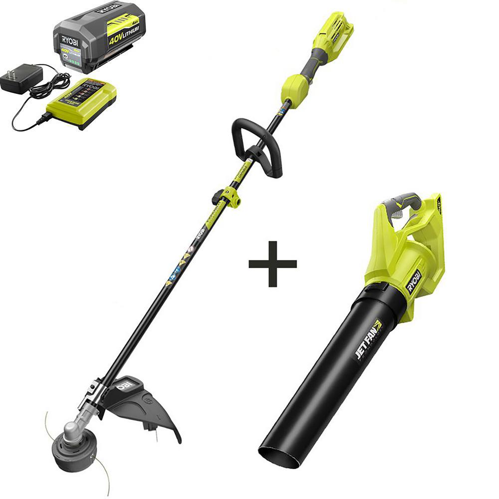 RYOBI 40-Volt Lithium-Ion Cordless Attachment Capable String Trimmer & Jet Fan Leaf Blower 4.0 Ah Battery & Charger Included