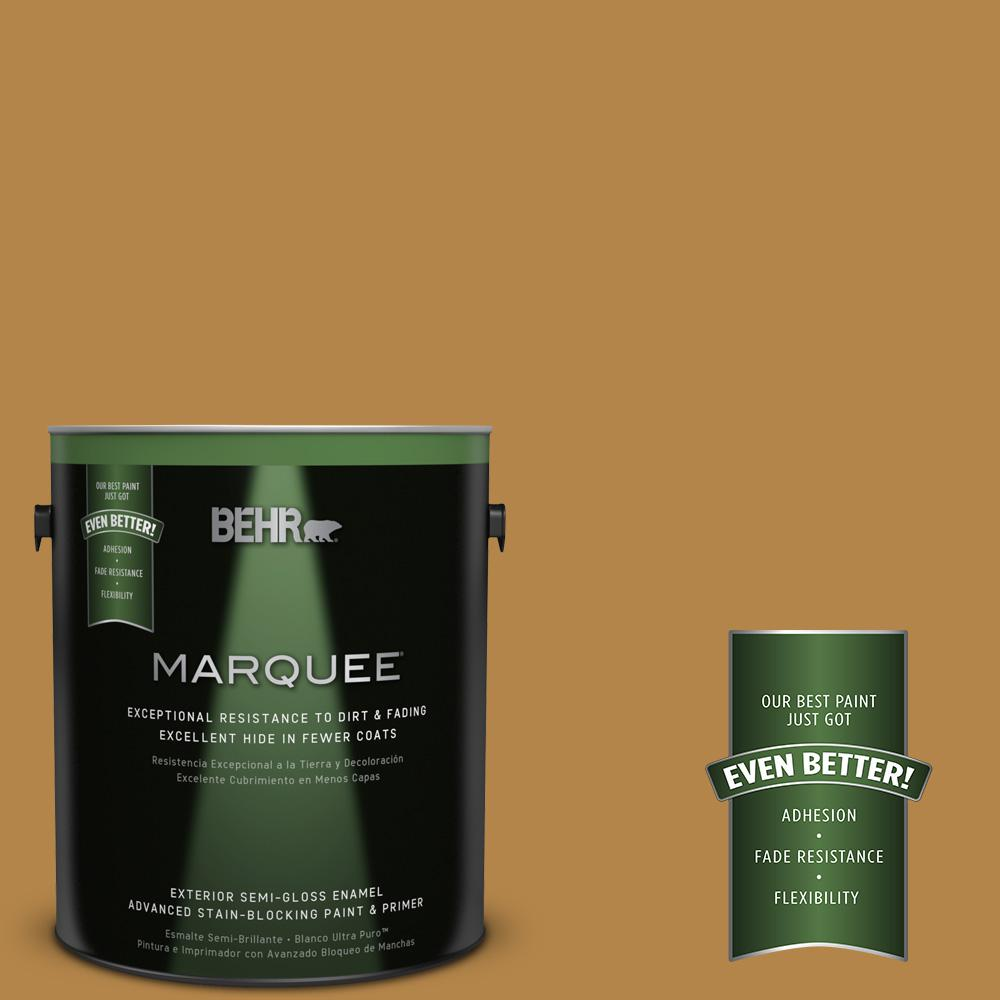 1-gal. #MQ4-9 Rice Curry Semi-Gloss Enamel Exterior Paint