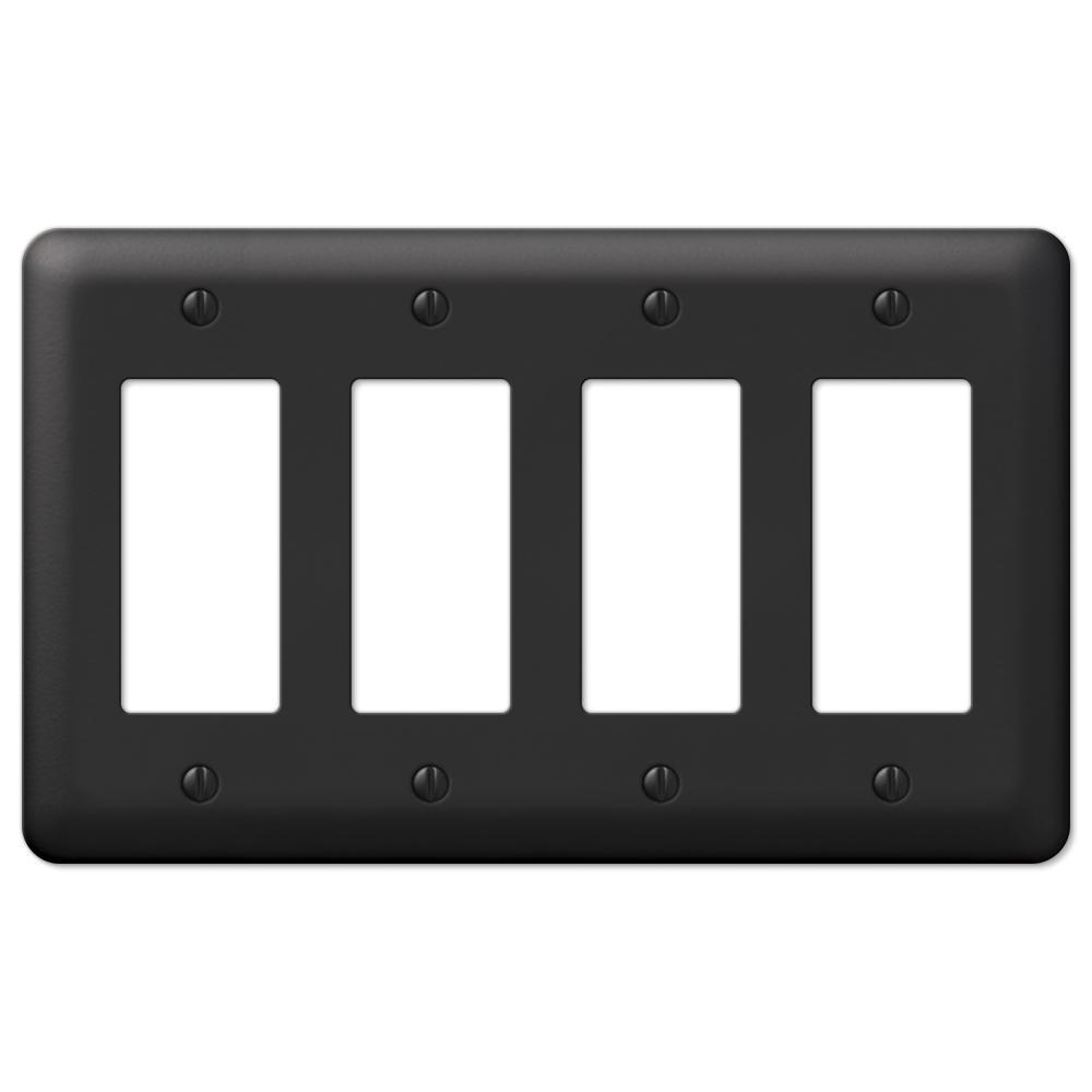 Declan 4 Gang Rocker Steel Wall Plate - Black