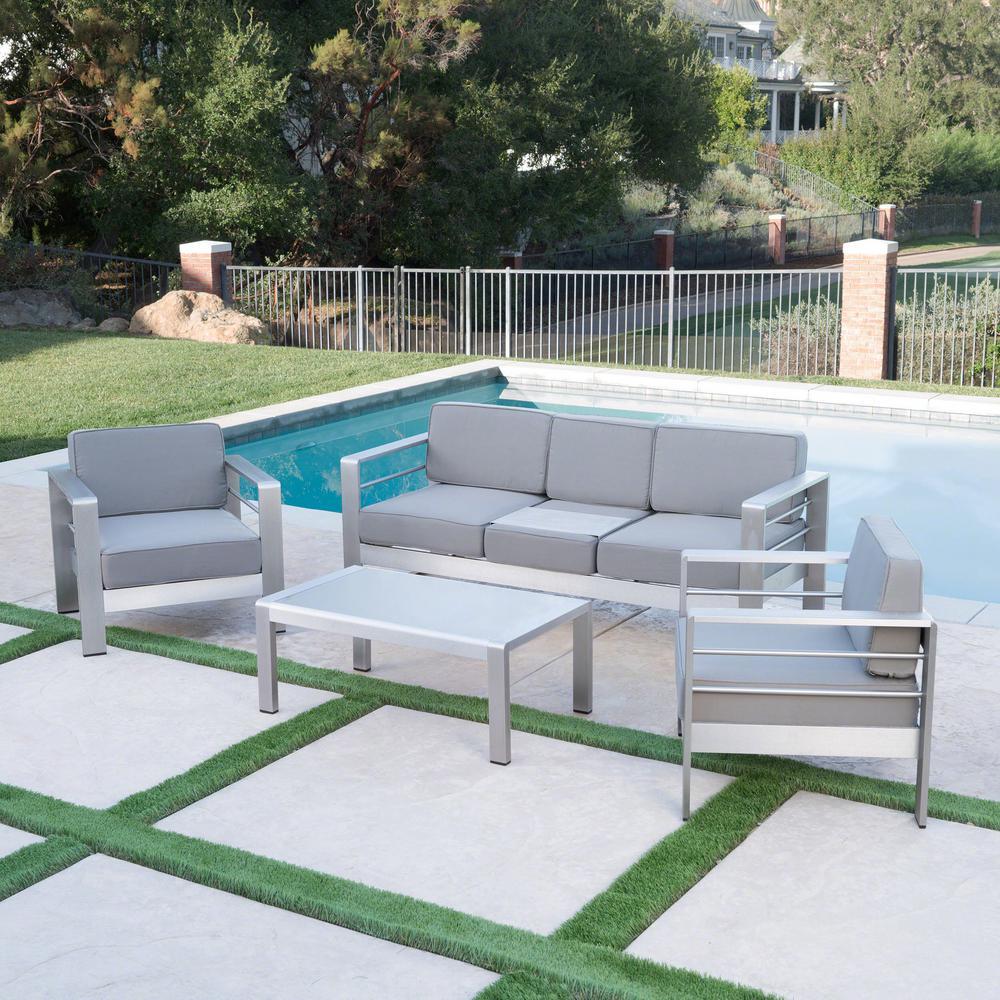 Cape Coral Khaki 4-Piece Aluminum Patio Conversation Set with Khaki Cushions