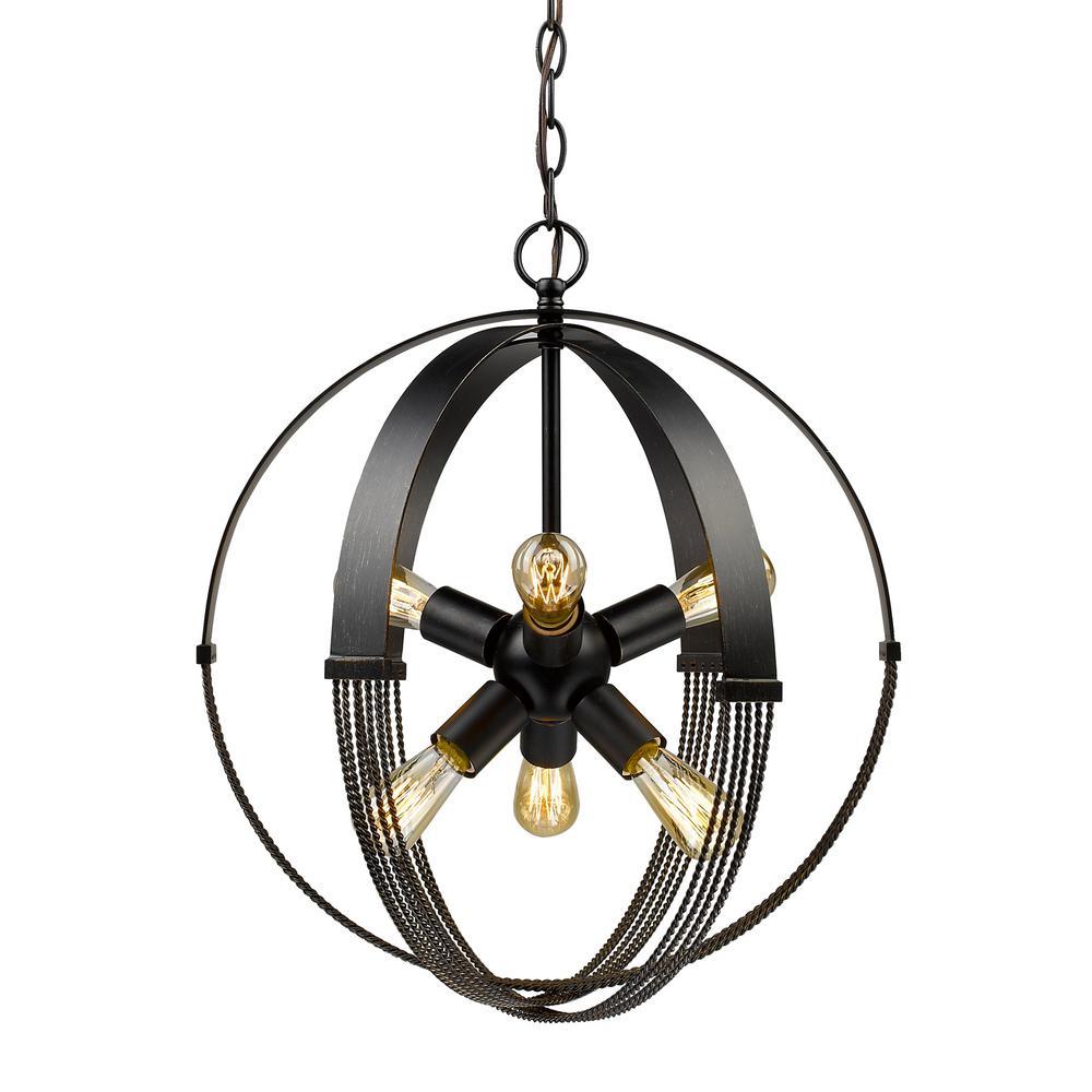 Golden Lighting Carter 6 Light Aged Bronze Pendant