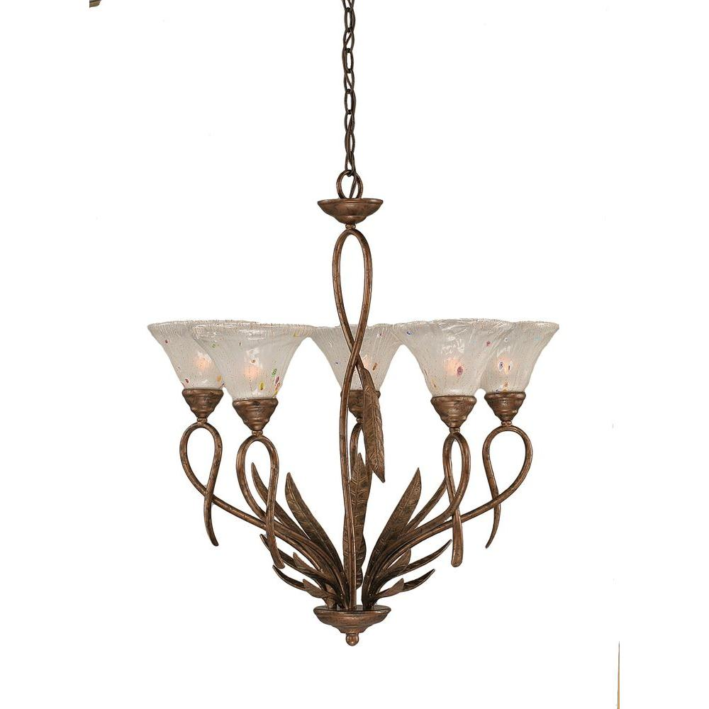 Filament Design Concord Series 5-Light Bronze Chandelier with Frosted Crystal Glass Shade