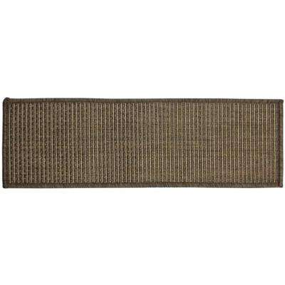 Jardin Collection Solid Design Dark Grey 9 in. x 26 in. Indoor/Outdoor Carpet Stair Tread Cover (Set of 14)