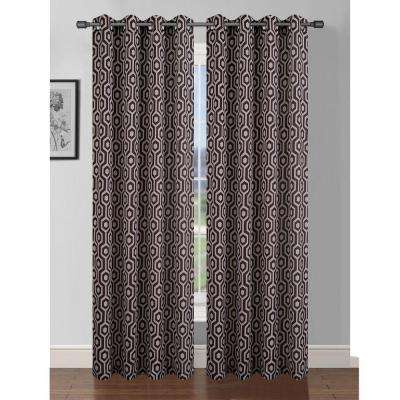 Semi-Opaque Camille Printed Faux Silk 84 in. L Grommet Curtain Panel Pair, Taupe/Chocolate (Set of 2)