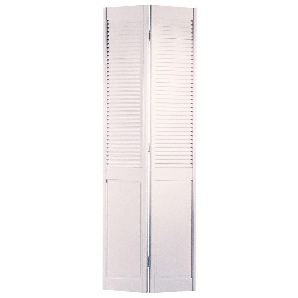 36 In X 80 In Pine Unfinished 2 Panel Full Louver Wood: Masonite 36 In. X 80 In. Half-louvered Primed White Solid